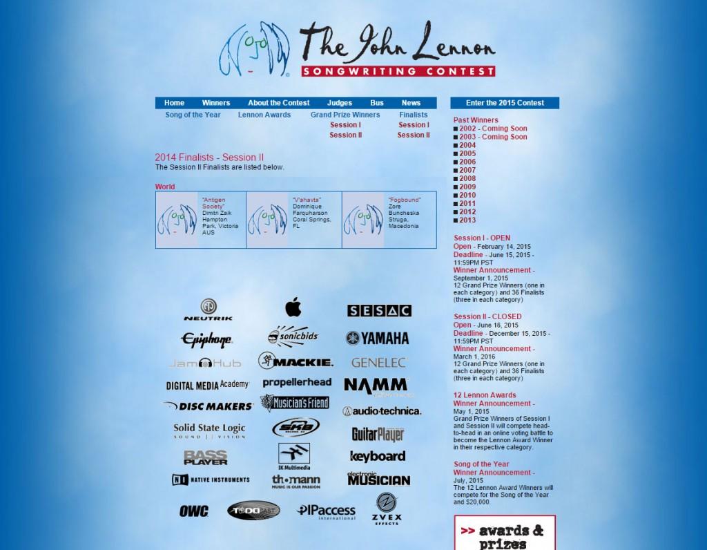 John Lennon Songwriting Contest 2014 Winner